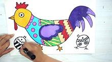 5068网儿童画第31期:喔喔叫的大公鸡