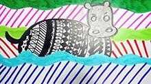 5068网儿童画第47期:游泳的河马